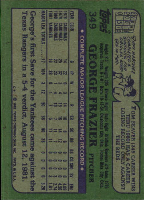 1982 Topps #349 George Frazier back image