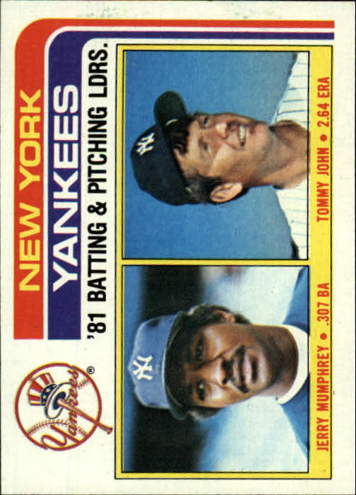 1982 Topps #486 Yankees TL/BA: Jerry Mumphrey/Pitching: Tommy Jo