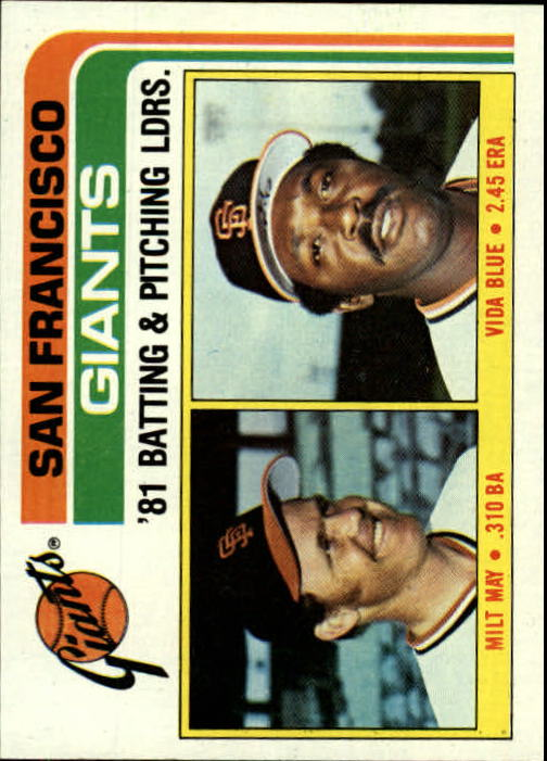 1982 Topps #576 Giants TL/BA: Milt May/Pitching: Vida Blue/(Che