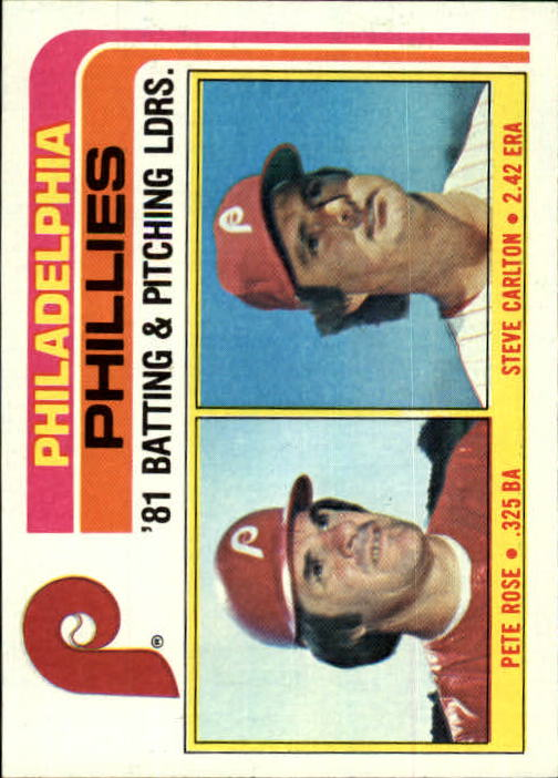 1982 Topps #636 Phillies TL/Rose/Carlton