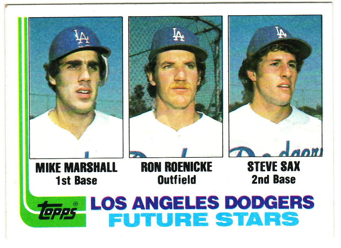 1982 Topps #681 Mike Marshall RC/Ron Roenicke RC/Steve Sax RC