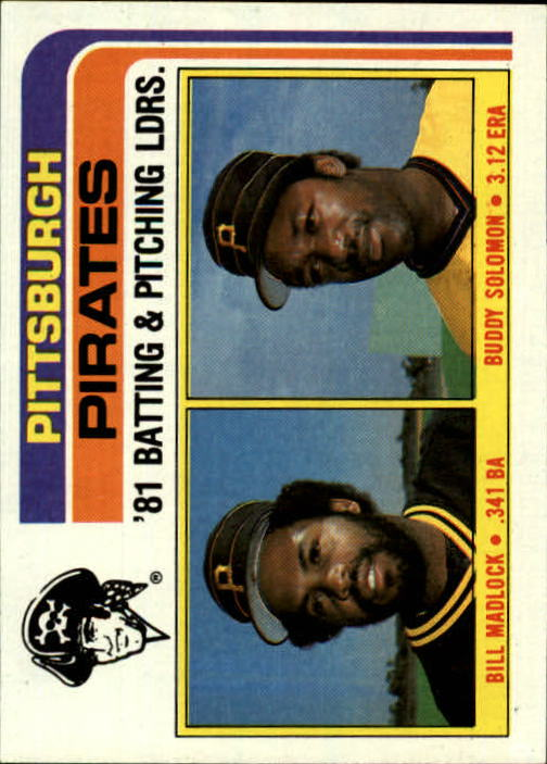 1982 Topps #696 Pirates TL/BA: Bill Madlock/Pitching: Eddie Solo