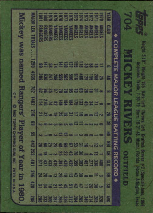 1982 Topps #704 Mickey Rivers back image