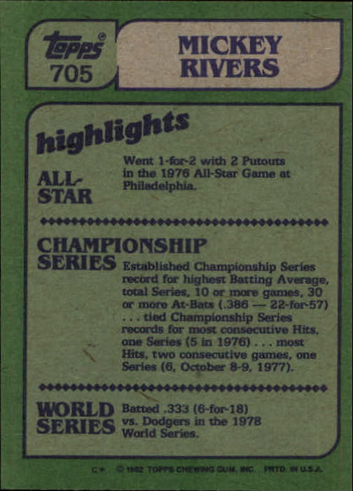 1982 Topps #705 Mickey Rivers IA back image
