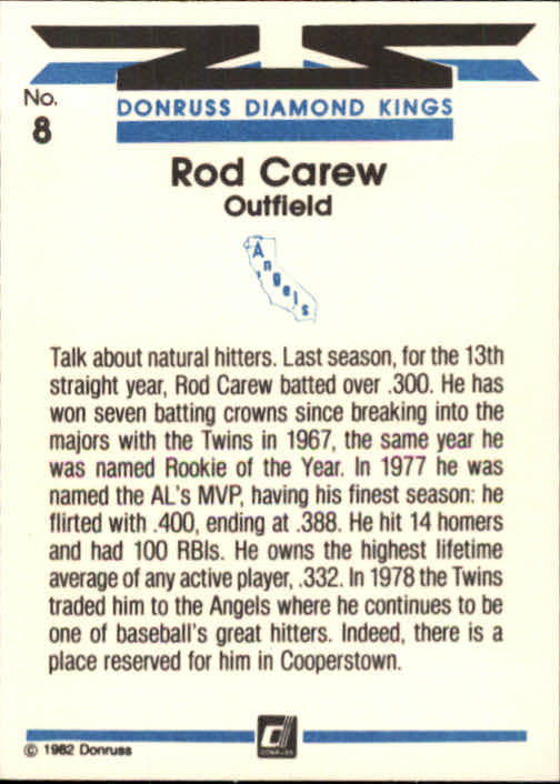 1982 Donruss #8 Rod Carew DK back image