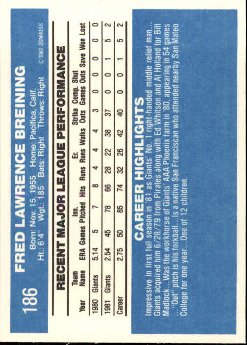 1982 Donruss #186 Fred Breining back image