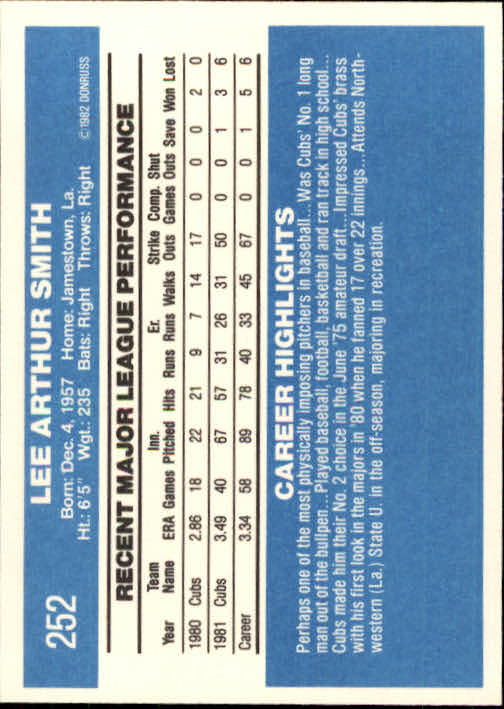 1982 Donruss #252 Lee Smith RC back image
