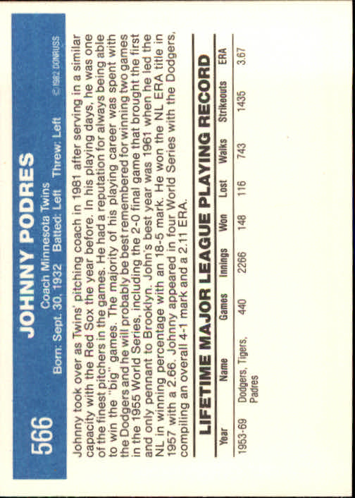 1982 Donruss #566 Johnny Podres CO back image