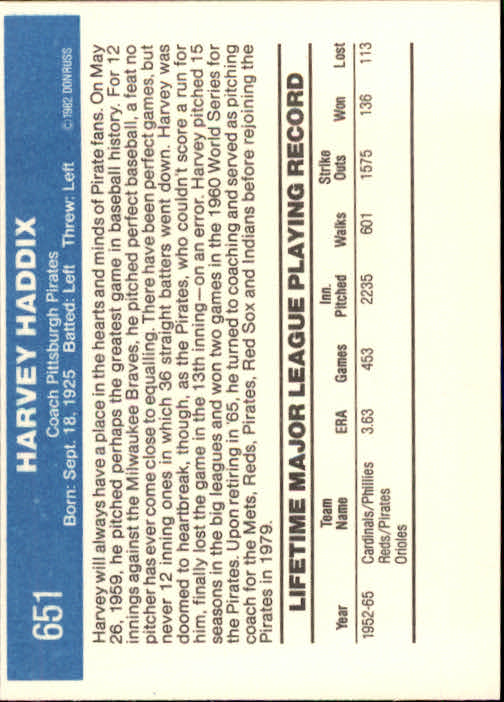 1982 Donruss #651 Harvey Haddix CO back image