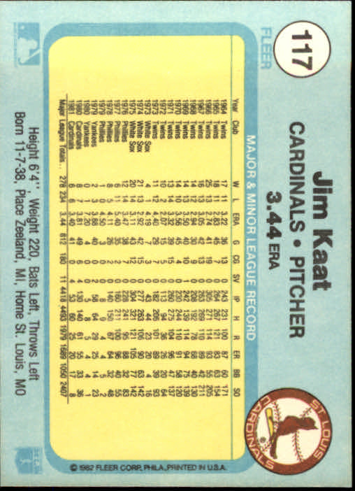 1982 Fleer #117 Jim Kaat back image