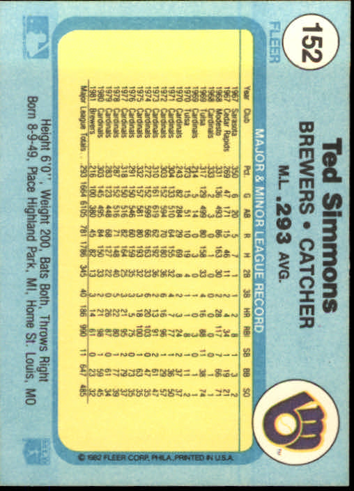 1982 Fleer #152 Ted Simmons back image