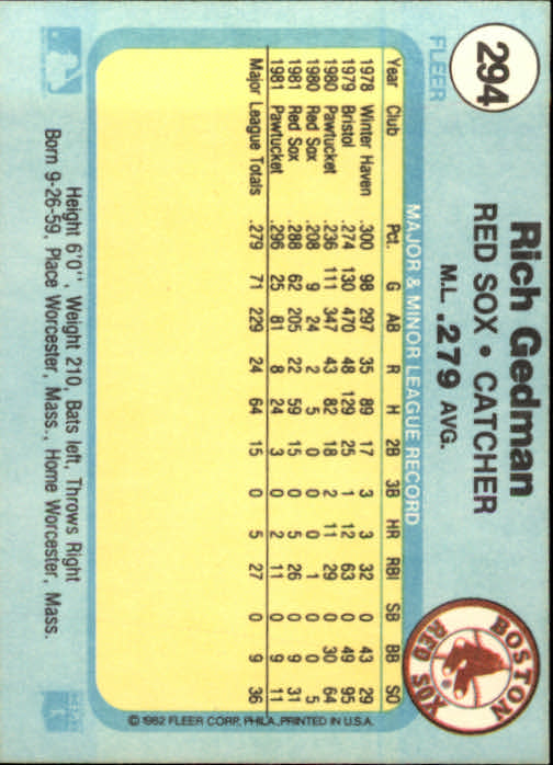 1982 Fleer #294 Rich Gedman back image