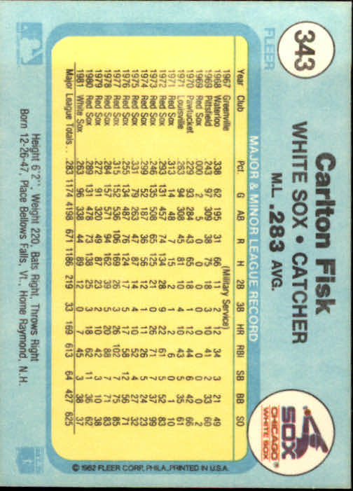 1982 Fleer #343 Carlton Fisk back image