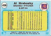 1982 Fleer #438B Al Hrabosky ERR/Height 5'1