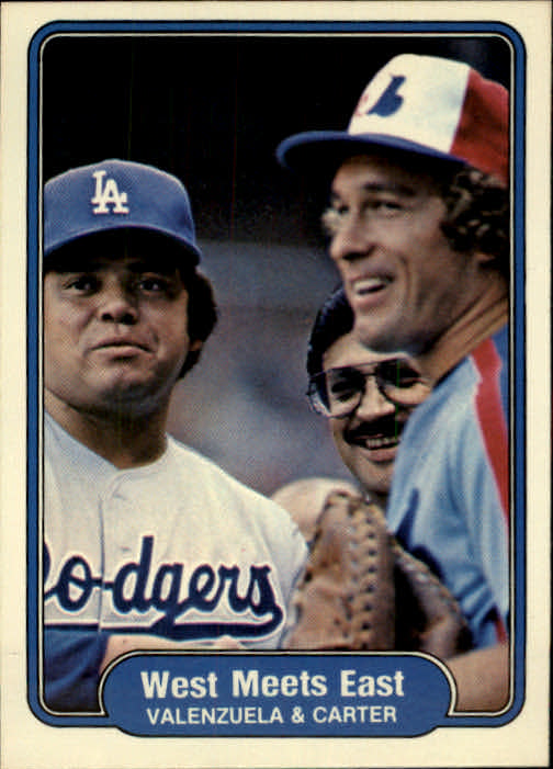 1982 Fleer #635 West Meets East/Fernando Valenzuela/and Gary Car
