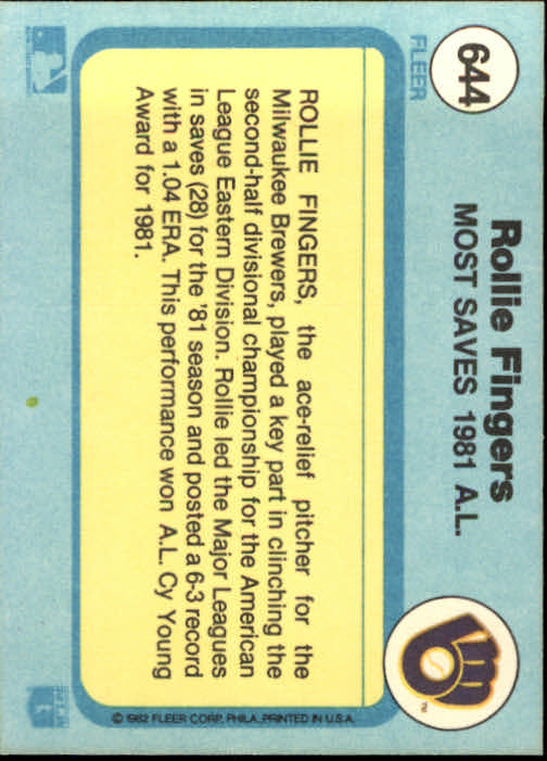 1982 Fleer #644 Rollie Fingers/Most Saves AL