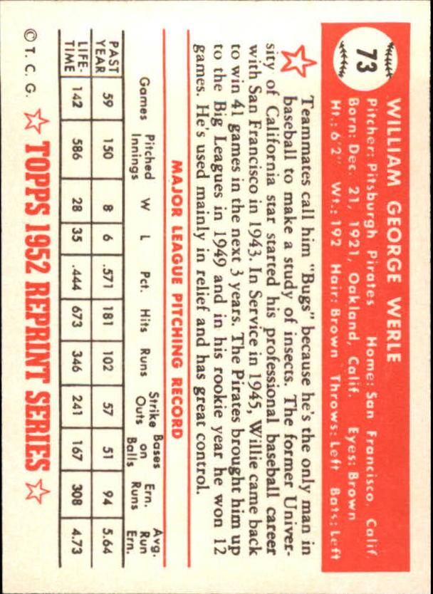 1983 Topps 1952 Reprint #73 Bill Werle back image