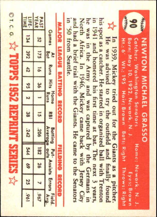1983 Topps 1952 Reprint #90 Mickey Grasso back image