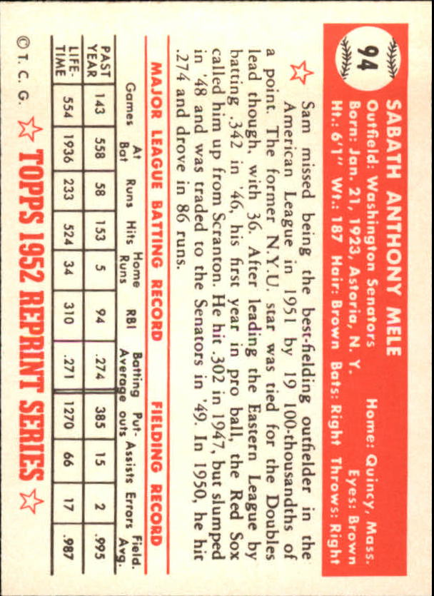 1983 Topps 1952 Reprint #94 Sam Mele back image