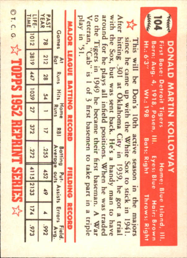 1983 Topps 1952 Reprint #104 Don Kolloway back image