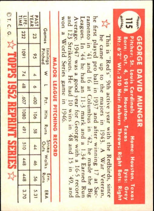 1983 Topps 1952 Reprint #115 George Munger back image