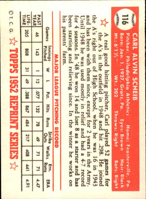 1983 Topps 1952 Reprint #116 Carl Scheib back image