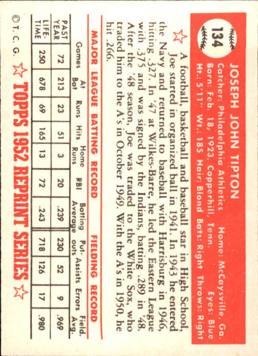 1983 Topps 1952 Reprint #134 Joe Tipton back image