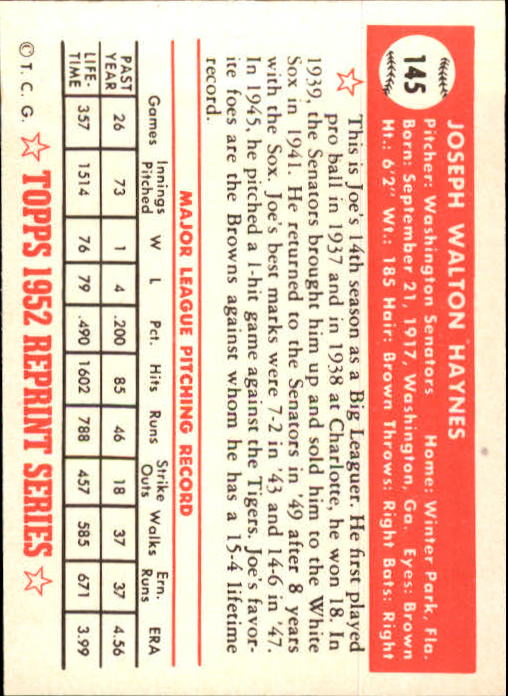 1983 Topps 1952 Reprint #145 Joe Haynes back image