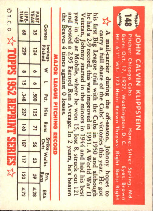 1983 Topps 1952 Reprint #148 Johnny Klippstein back image
