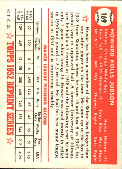 1983 Topps 1952 Reprint #169 Howie Judson back image