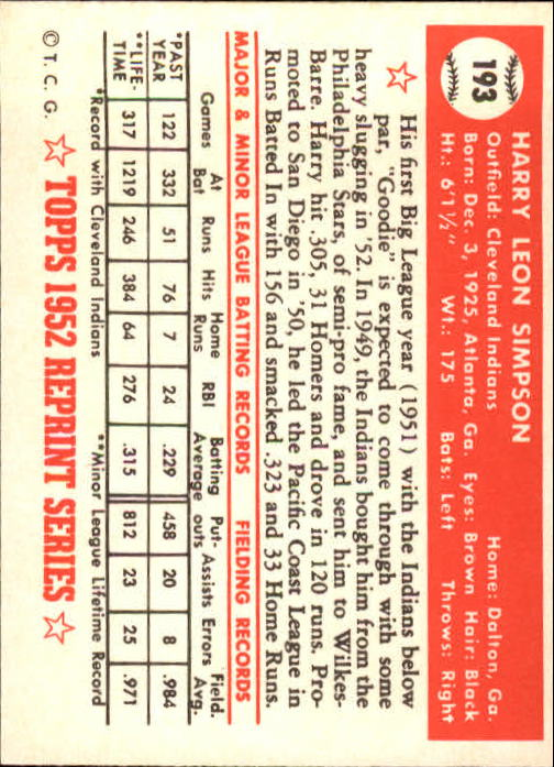 1983 Topps 1952 Reprint #193 Harry Simpson back image