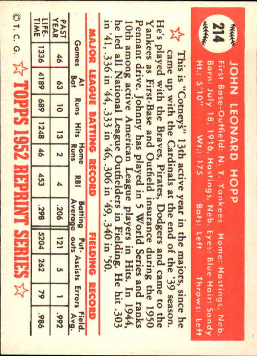 1983 Topps 1952 Reprint #214 Johnny Hopp back image