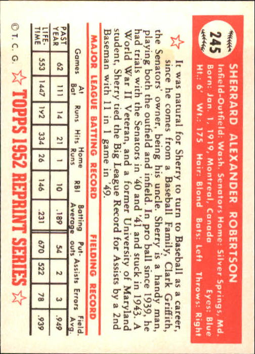 1983 Topps 1952 Reprint #245 Sherry Robertson back image