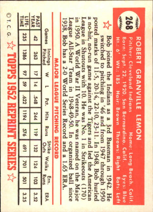 1983 Topps 1952 Reprint #268 Bob Lemon back image