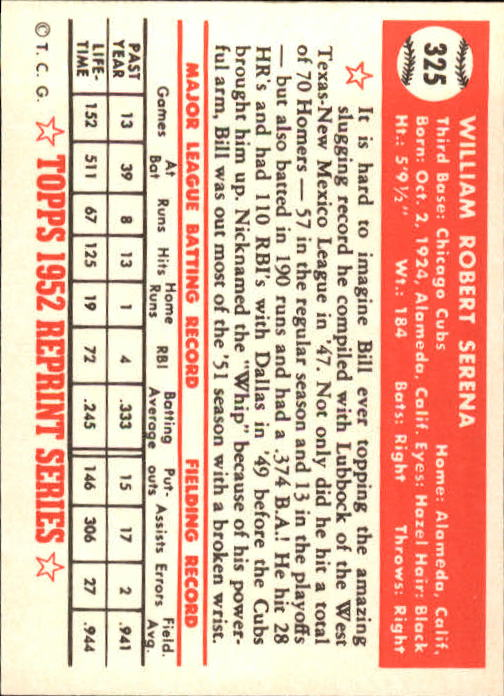 1983 Topps 1952 Reprint #325 Bill Serena back image