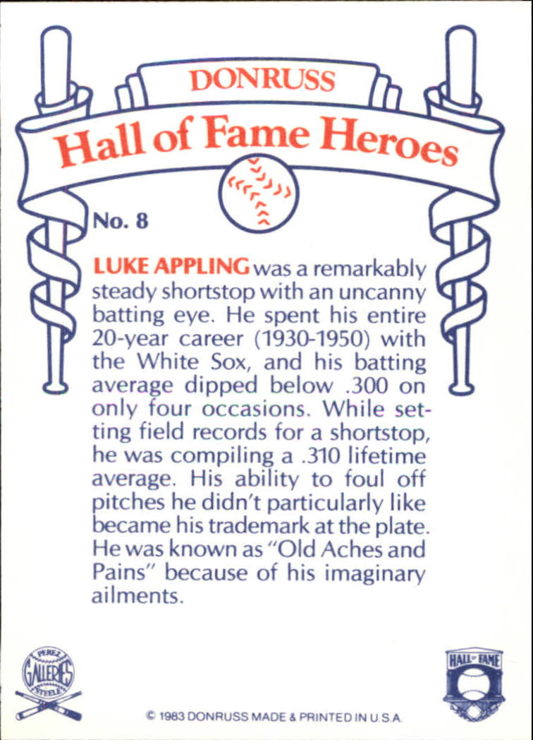 1983 Donruss HOF Heroes #8 Luke Appling back image