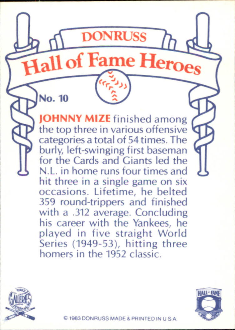 1983 Donruss HOF Heroes #10 Johnny Mize back image