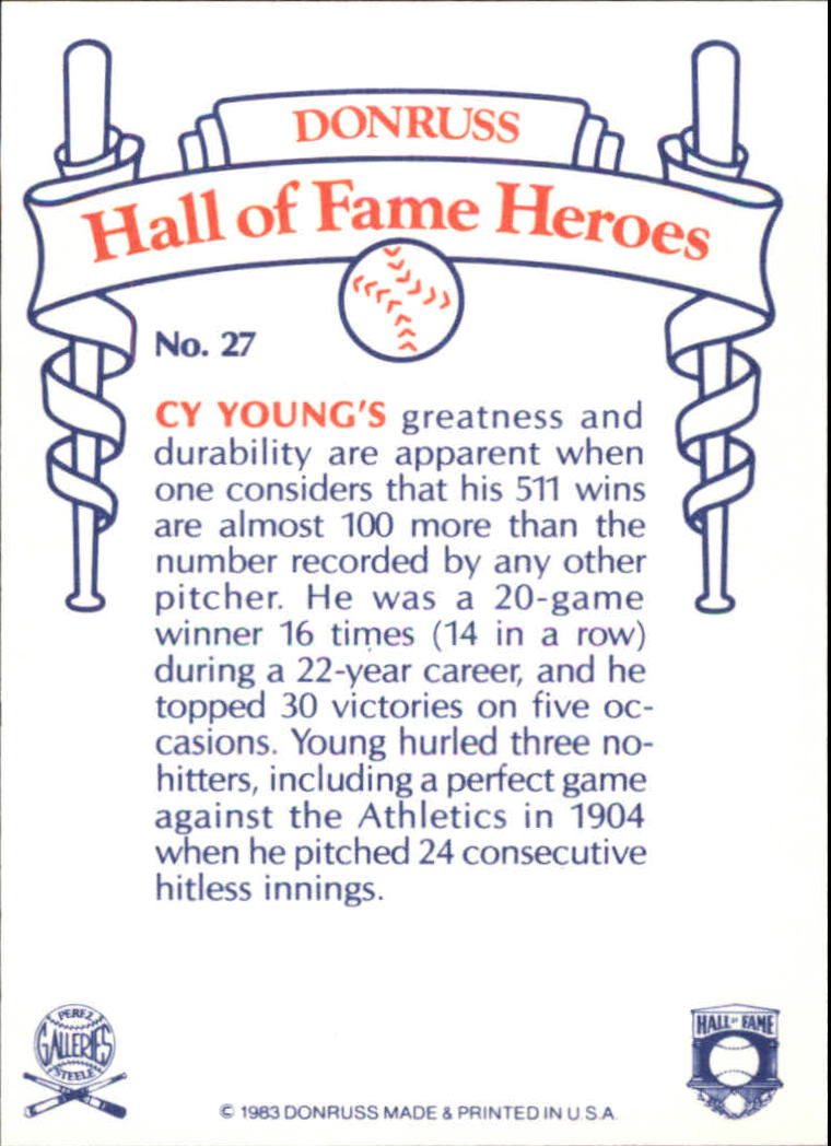 1983 Donruss HOF Heroes #27 Cy Young back image