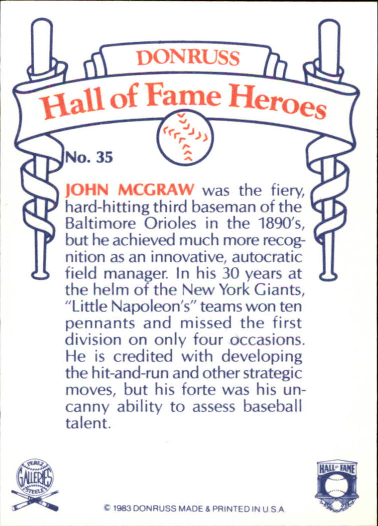 1983 Donruss HOF Heroes #35 John McGraw back image