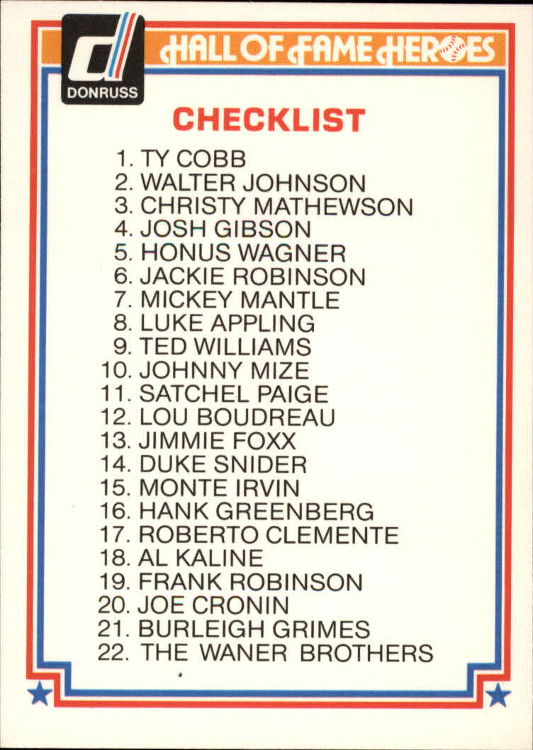 1983 Donruss HOF Heroes #44 Checklist Card