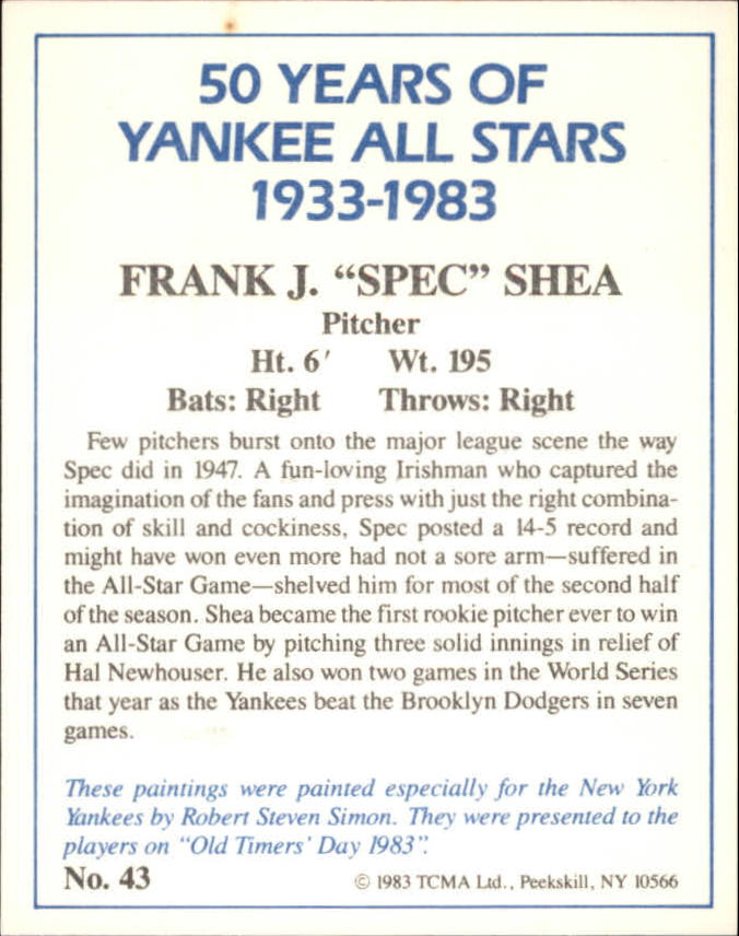 1983 Yankees A-S Fifty Years #43 Spec Shea back image