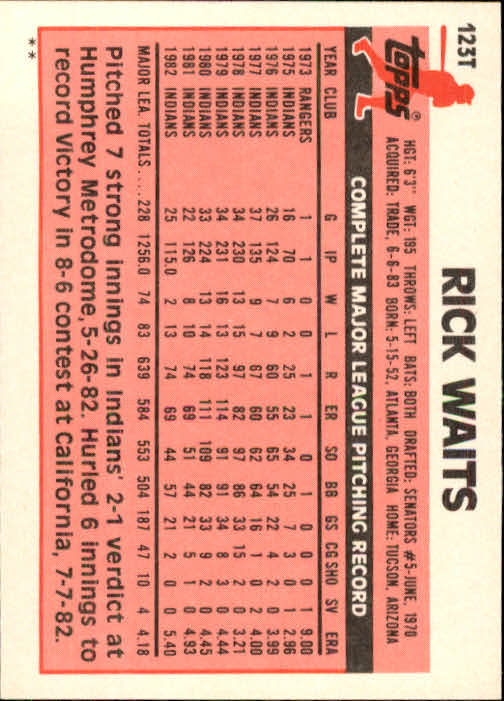 1983 Topps Traded #123T Rick Waits back image