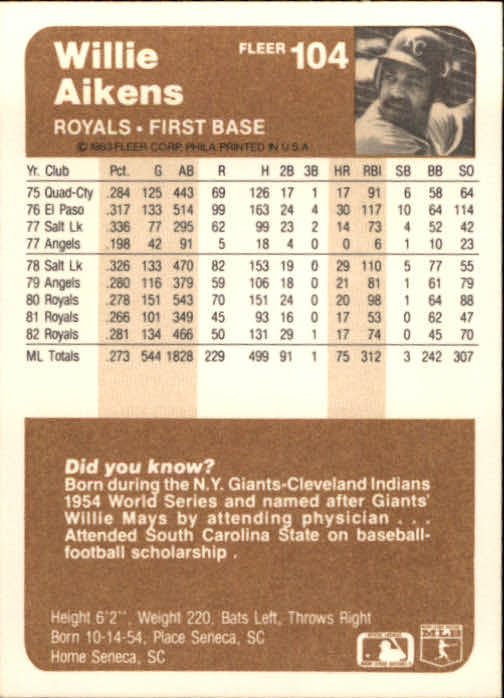 1983 Fleer #104 Willie Aikens back image