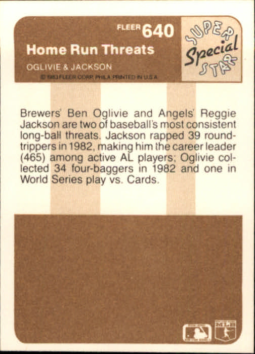 1983 Fleer #640 Ben Oglivie/Reggie Jackson back image
