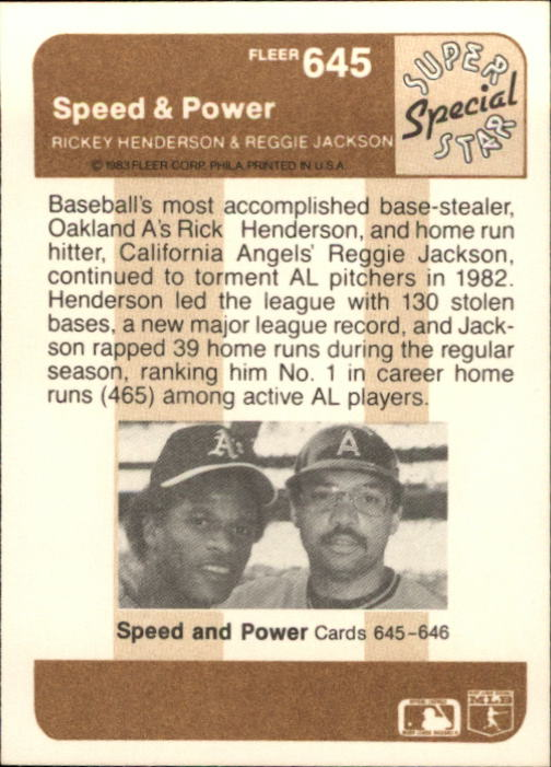 1983 Fleer #645 Reggie Jackson Power back image