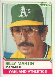 1983 Topps #156 Billy Martin MG front image