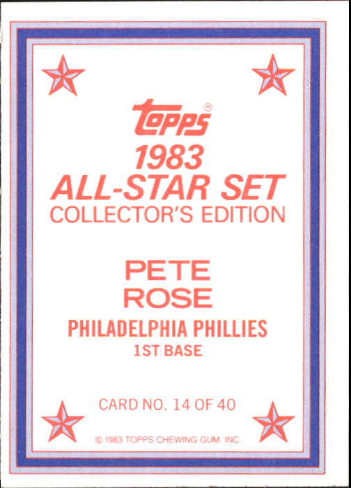 1983 Topps Glossy Send-Ins #14 Pete Rose back image