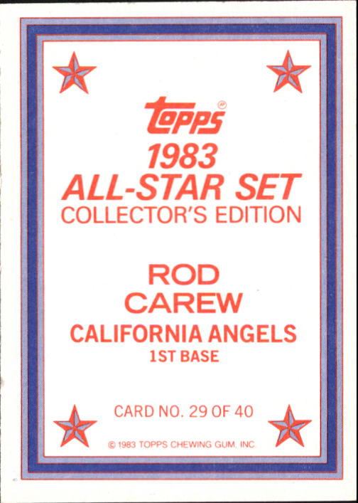 1983 Topps Glossy Send-Ins #29 Rod Carew back image