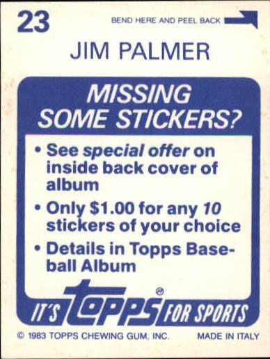 1983 Topps Stickers #23 Jim Palmer FOIL back image