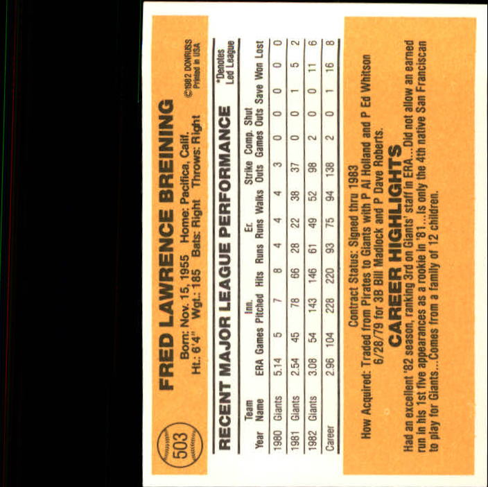 1983 Donruss #503 Fred Breining back image